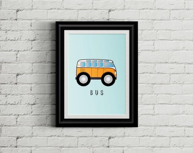 VW Bus Kid's Bedroom Wall Art - Hippie Boys Room Decor - Hippy Van Room Decor - VW Nursery Decor