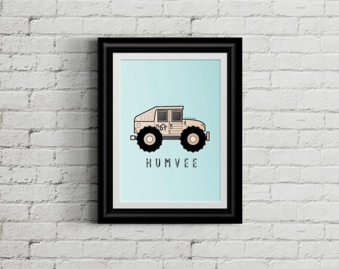 Hummer Kid's Bedroom Wall Art - Military Boys Room Decor - Humvee Room Decor - Camo Nursery Decor