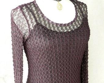 Vintage Betsey Johnson Aubergine Knit Lace Slinky Dress