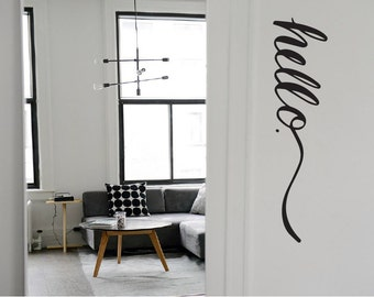 HELLO Decal / hello door decal, hello wall decal, hello wall art, hello sticker, front door decal, hello vinyl, welcome decal, office decal