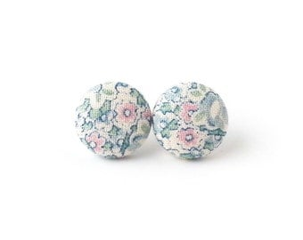 Vintage style stud earrings - pastel fabric button earrings - spring floral flower rose blue pink green