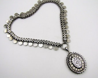 English Victorian Sterling Silver Book Chain Collar Necklace With Locket. Antique Aesthetic Era Victorian Jewelry. Hallmark Birmingham 1880