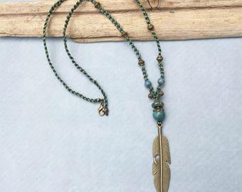 Feather Pendant Boho Necklace, Gypsy Necklace