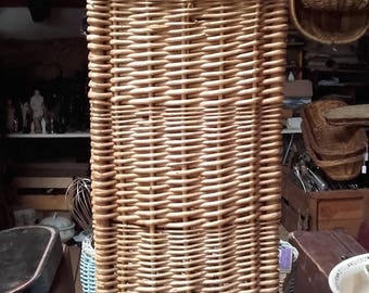 Vintage French Boulangerie Bakers Shop Bread Basket Tall Wicker Baguette store