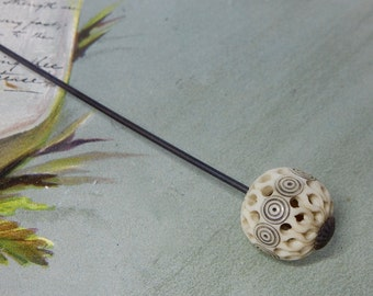 Hand Carved Openwork Lattice Ball Hatpin Hat Pin   NDT23