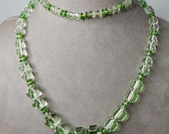 Large Tinted Green Czech Glass Flapper Bead Necklace   NEM3