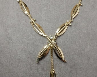 Vintage Gold & Rhinestone Serpentine Drop Necklace    NEJ31
