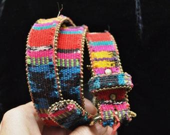 Vintage Fabric & Leather Southwestern Belt/Guatemalan Rainbow Style/small-Medium Womens USA/Woven Fabric Goldtone clasp/Red Black Blue 80s