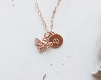 Rose Gold Honey Bee Necklace, Dainty Bee Jewelry - perfect gift for a Bee Keeper! Available in Sterling Silver, Yellow Gold, and Rose Gold