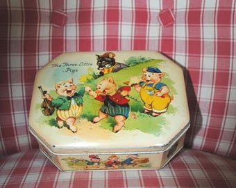 Antique TIN BOX The Three Little PIGS Horner & Co.