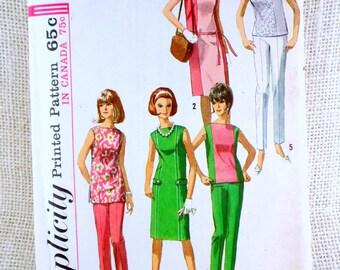 Simplicity 6015 Bust 32 Vintage pattern Cigarette pants color block 1960s capri shell blouse dress skinny leg slacks