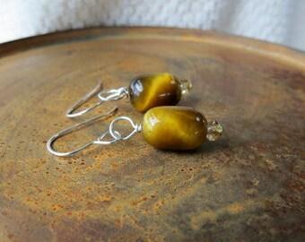 tiger eye earrings. CONFIDENCE. silver hook earrings. golden brown earrings. natural stone earrings. short dangle earrings. casual earrings.
