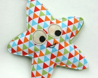 Starfish, Baby Toy, Crinkle Toy, Great Unisex Baby Gift, Orange Blue Green Triangles
