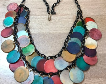 Vintage swirl multicolor discs two strands early plastic galalith necklace -  bakelite style