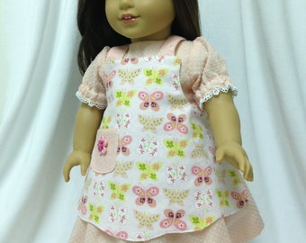 Party Dress-fits American Girl Dolls--Peach Dotted Swiss with peach floral apron--One of a Kind