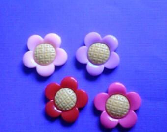 Kawaii pop flower cabochons  4 pcs---USA seller