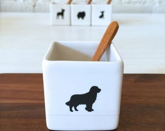 Gift for Dog Lover-Golden Retriever Salt Cellar with Bamboo Spoon for Dog Owner, Square Flower Vase, Candle Holder, Treat Box