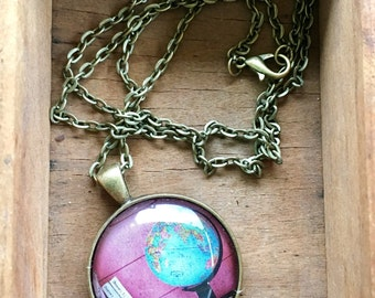Globe and Books on Pink World Travel Necklace Wanderlust Gift for Traveler Earth Nation Graduation Mothers Day