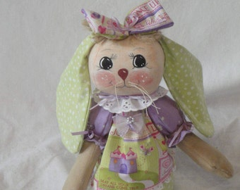 Rabbit art doll whimsical primitive rabbit bunny doll hand made green purple dress by Morning Mist Designs