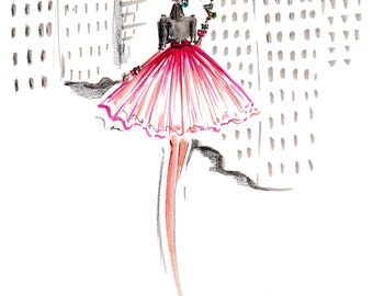Pink in the Plaza - Fashion Illustration - Art Print