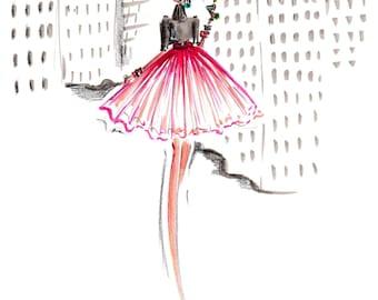 Pink in the Plaza - Fashion Illustration - Art Print