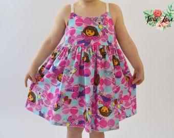 Dora and Boots Shirt, Dress or Maxi (Baby and Girls Newborn - 12) Dora birthday party, Dora the Explorer, baby shower gift, girls maxi dress