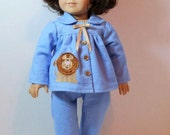 "RESERVED CUSTOM 1960s Era Flannel Pajamas for 18"" Dolls"