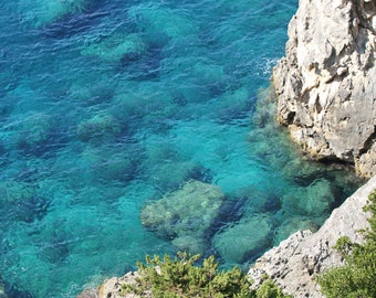 Ocean Photography - Sea Print - Corfu Greece Photograph - Water Photo - Turquoise Blue and Aqua Green Wall Decor - Travel Photography Art