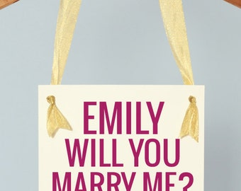 "Proposal Sign ""Will You Marry Me"" ""She Said Yes"" Personalized With Her Name Engagement Banner Handmade in USA 