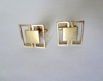 1960s Modernist Cufflinks - vintage gold tone men's accessory