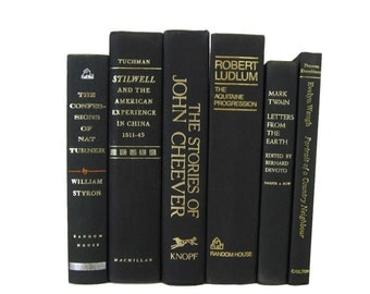 Black Books , Black Vintage Books , Decorative Black Books, Home Decor , Old Books , Vintage Photo Props , Table Setting , Wedding Decor