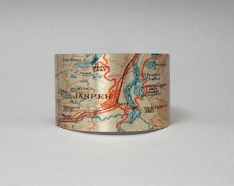 Jasper National Park Canadian Rockies Map Cuff Bracelet Unique Travel Vacation Gift for Men or Women