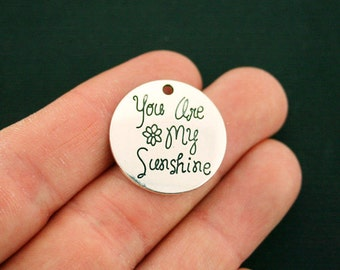 10 You Are My Sunshine Charms Antique Silver Tone - SC6677