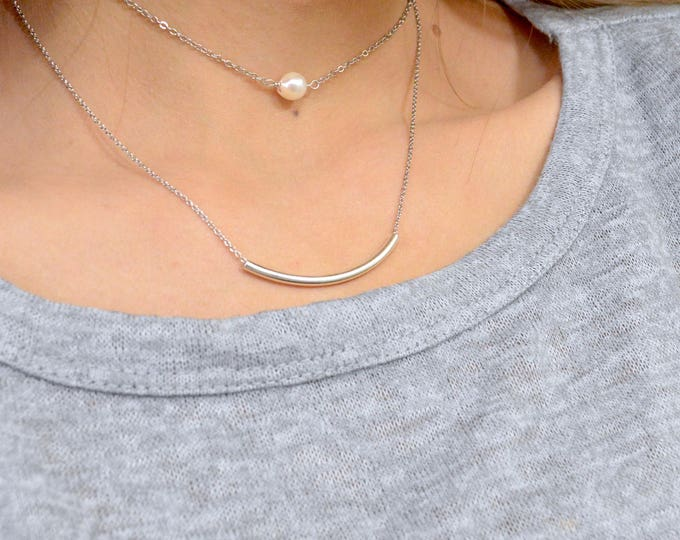 Genuine Pearl and Curved Tube Layered Necklace Set in Gold or Silver