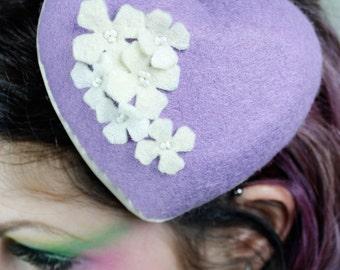Mini Felt Heart Fascinator - Pretty in Purple