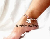 Garden Anklet Beach Ankle Bracelet Flower Body Jewelry White Beach Jewelry Cruise Accessories