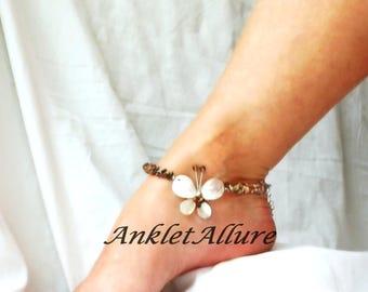 Butterfly Anklet Stony Beach Ankle Bracelet Shell Jewelry Body Jewelry