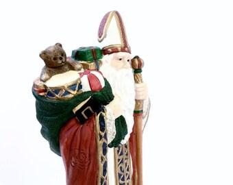 Large Vintage Santa Claus Figurine Handpainted Ceramic Santas Of The World Granduer Noel 1909 Poland Old World St Nicholas Christmas Decor