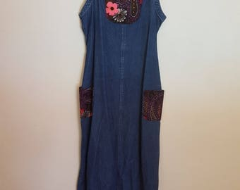 Vintage 1980s blue denim pinafore long dress