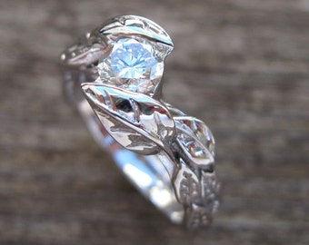 Leaf Diamond Engagement Ring, Engagement Leaf Ring, Leaves Engagement Ring, Leaf Engagement Ring, Natural Engagement Ring, Floral Engagement