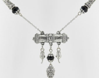Silver and Black Tibetan Style Necklace and Earring Set with Scroll Beads