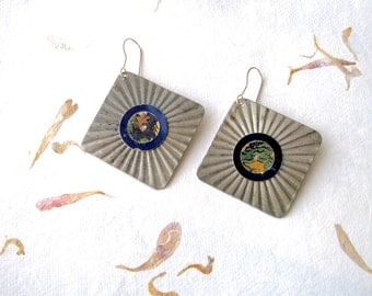 Cake Pan Earrings, Textured Tin, Light Weight, Sterling Ear Wires, Blue, Gold and Green