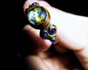 Circle of Sif - Medieval Viking Era (15th - 18th Century) Cobalt & Quartz Bronze Ring - Old Magic, Royalty, Water Witch, Seer, Dream Magic