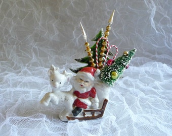 Vintage Christmas Decoration Santa Clause Reindeer Sleigh Retro Bottle Brush Tree Candy Canes Mercury Glass