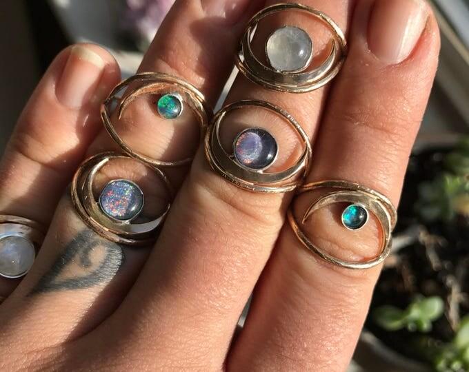 H e r a (O) Australian Opal // Crescent Moon // Evil Eye // Geometric // 14k Gold Filled Ring