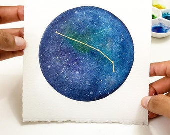 Aries Constellation. Unique Gift for Aries. Original Watercolor Constellation. Custom Birthday Gift. Galaxy Constellation. Zodiac Wall Art.