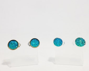 The Sugar Earrings in Turquoise | Turquoise Glitter Earrings | Glitter Druzy Earrings | Glitter Jewelry | Turquoise Druzy Earrings