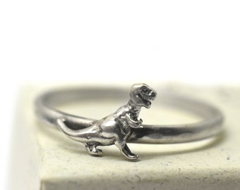 Tyrannosaurus Rex Ring, Personalized Gift, Custom Engraving, Silver T-Rex Ring, Sterling Silver Dinosaur Ring, Scary Monster Jewelry