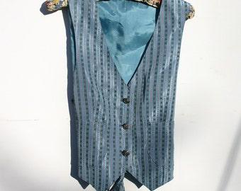 Striped Waistcoat, Vest, Vintage 30's fabric, Womens striped waistcoat 1980s