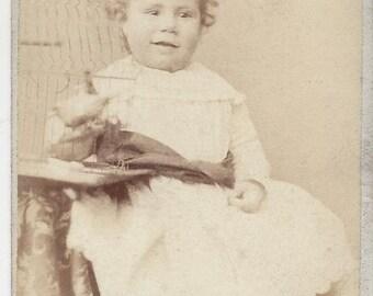 Vintage Carte de Visite (CDV) of Little Girl Joshua Smith Photographer, 1876-1886
